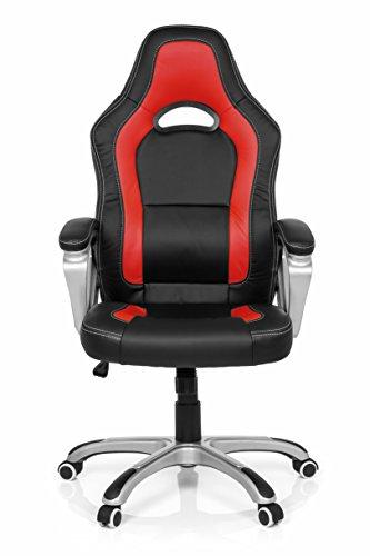 MyBuero 722090 - Sedia da ufficio per gaming Zone Pro AB100, in similpelle, colore: nero/rosso
