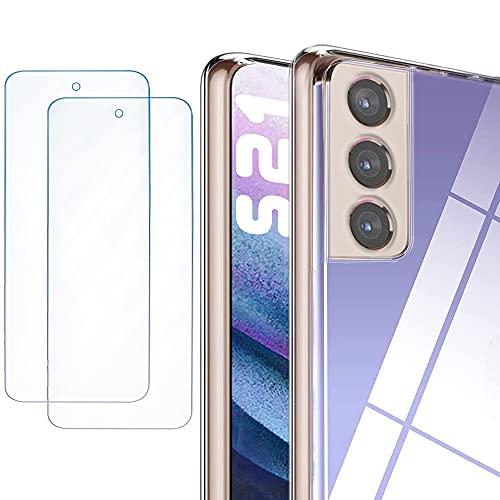 Phonix Cover Trasparente per Samsung Galaxy S21 + 2pz. Vetro Temperato Garanzia Italiana | Custodia Silicone Colorata + 2pz. Pellicola Vetro Protettiva | Proteggi Schermo AntiGraffio
