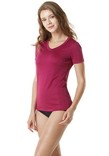 TSLA Damen UPF 50+ mit V-Ausschnitt Swim Shirts, UV-Sonnenschutz Short Sleeve Rashguard, Außensommersport Workout Tops, Fss02 1pack - Plum, XL
