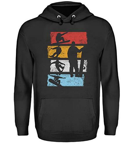 EBENBLATT Vintage Retro Snowboard Snowboarding Geschenk Geschenkidee für Snowboarder - Unisex Kapuzenpullover Hoodie -XL-Jet Schwarz