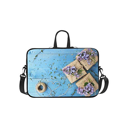 15.6″Kratzfeste Business-Aktentasche Notebook Hellblaues kleines Holzgeschenk Tragbares PC Aufbewahrung Paket mit bequemen Schulterriemen