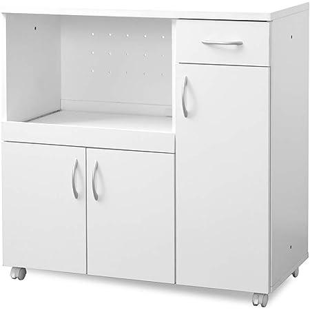 moca company KAKUSERU キッチンカウンター レンジ台 食器棚 キャスター付き コンセント付き 幅90 ホワイト MC-FR002KS-WH