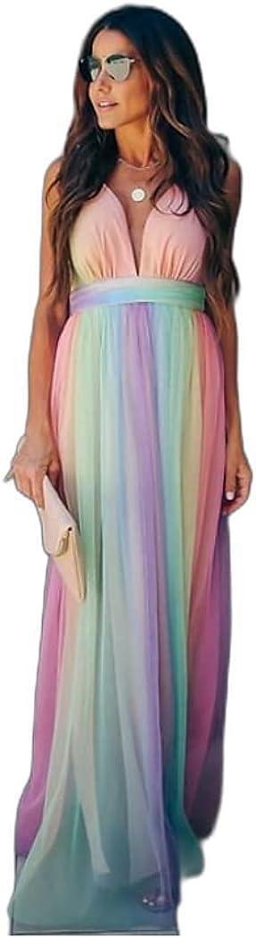 Women's Swing Dress Maxi Long Dress Rainbow Sleeveless Rainbow Striped Color Block