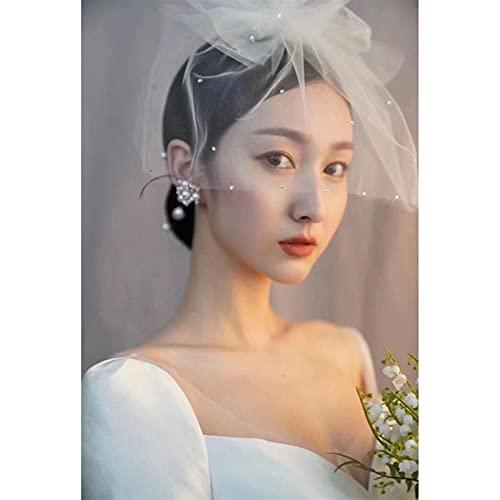 Coiffes de Mariée Ornements de cheveux de cheveux de voile ivoire bowknot bowknot cristal de coiffure perlée Accessoires de Mariée