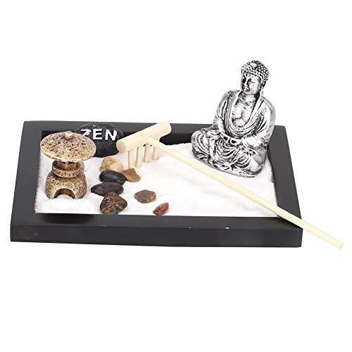 Meditatie Zen Garden-dienblad, houten ambacht Unieke Zen-tuin met Boeddha, Desktop Mini Friends voor Art Lover Home Office