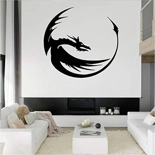 Dinosaure muurstickers, draak, muurstickers, voor woonkamer, motief wand, ornament, Chinese decoratie, afneembare draak, 57 x 60 cm
