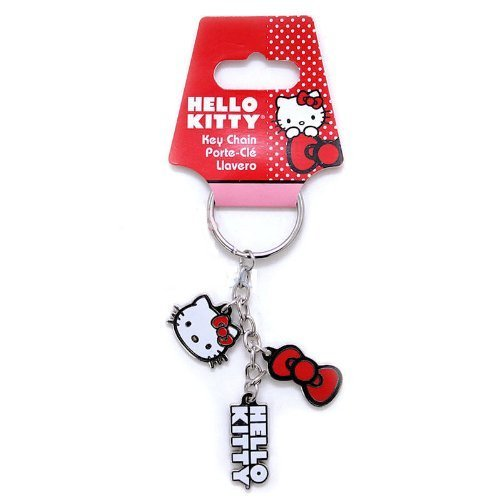 Hello Kitty Metal Keychain with Red Bow Hello Kitty Script and Cute Kitty Face