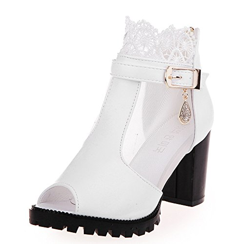 Wyxhkj Sandalias Mujer Verano 2019 Con Plataforma De Encaje Zapatos Tacón Alto De Punta Abierta Botines Suave Cremallera Sandalia Romana Botines De Boca De Pescado Para Mujer