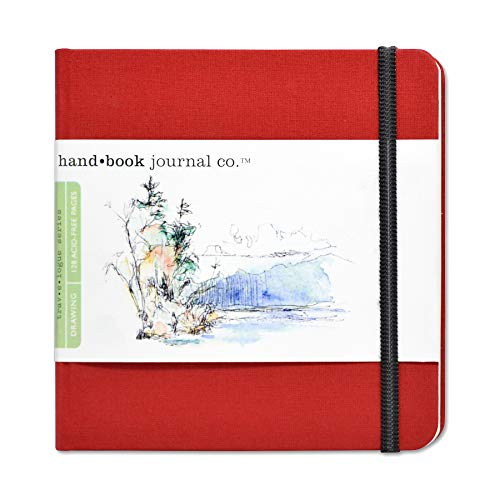 Travelogue Drawing Book, Square 5-1/2 x 5-1/2, Vermilion Red Artist Journal