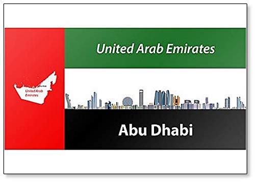 Abu Dhabi Aimant de réfrigérateur Motif horizon de la ville avec drapeau des Émirats arabes unis