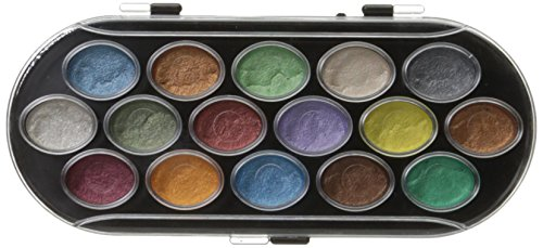 Yasutomo NPWC16 16 Color Pearlescent Watercolor Set, Assorted, Multicolor
