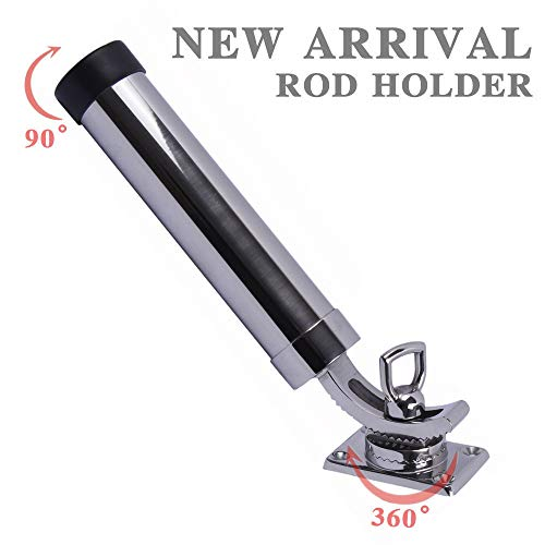 360 Degree Adjustable Fishing Rod Holder Deck Mount 316 Stainless Steel for Marine Boat Yacht