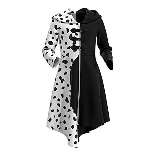 IWEMEK Niñas Cruella de Vil Disfraz 101 Dálmatas Cruella Vestido Abrigo de...