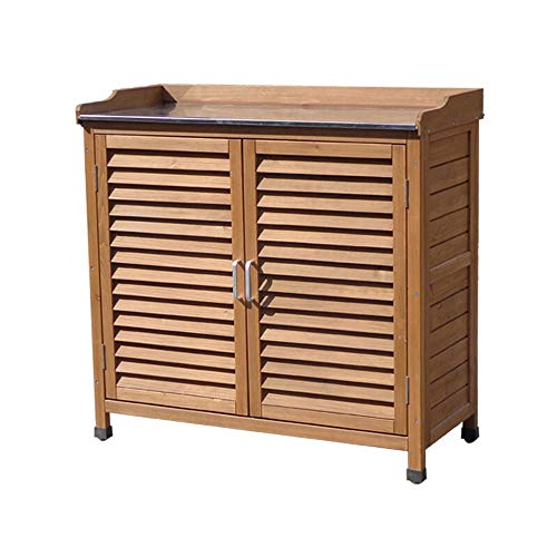 Gartenschrank Montage Außenlagerschrank Werkzeugkasten Schuhregal Einfache Wasserdicht Balkon Hof Garten Aufbewahrungsbox für den Außenbereich: Bewahren SI (Color : Wood, Size : 87.5x35x93.8cm)
