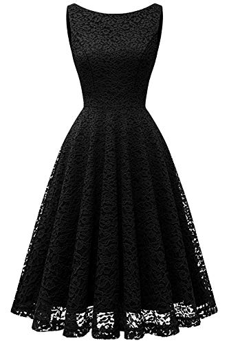 Bbonlinedress Damen Retro Charmant Ärmellos Rundhals Knielang mit Spitzen Floral Rockabilly Cocktail Abendkleider Black 2XL