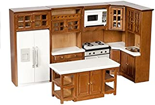 Dollhouse Miniature 1:12 Scale Complete 8 Piece Kitchen Furniture Set in Walnut