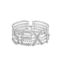 Silver-Sexy Symbol Crystal Choker With Rhinestones