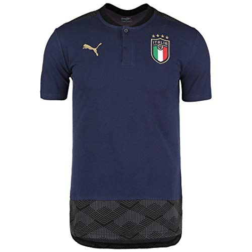 PUMA FIGC Casuals Polo, Shirt Uomo, Peacoat Team Gold, S