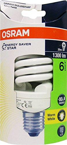 Osram Lampada Fluorescente Compatta E27, 20 W, Bianco Caldo