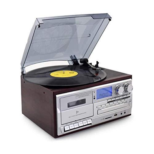 Caja de música REGISTRO JUGADOR Turnatible Vinyl Record Reproductor Player CD FM Radio U Disco SD Tarjeta SD para Vinyl Records Cinturón Accionado Vintage Registro Reproductor jugador Música TurnTable