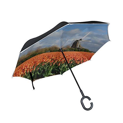 Double Layer Inverted Compact Reverse Umbrella Tulpen mit holländischen Windmühlen Faltschirm für Kinder Wende-Regenschirm für Frauen Winddichter UV-Schutz für Regen mit C-förmigem Griff