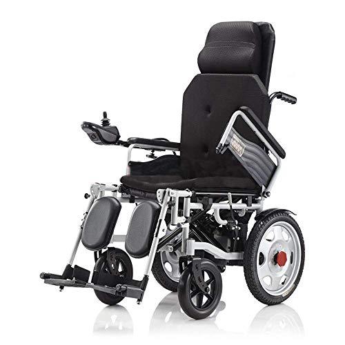 SLRMKK Tragbarer klappbarer Rollstuhl, leichtes faltbares Antriebsrad mit Verstellbarer Rückenlehne und tragbarem Transit mit Zwei leistungsstarken Motoren für Behinderte und ältere Menschen, sch