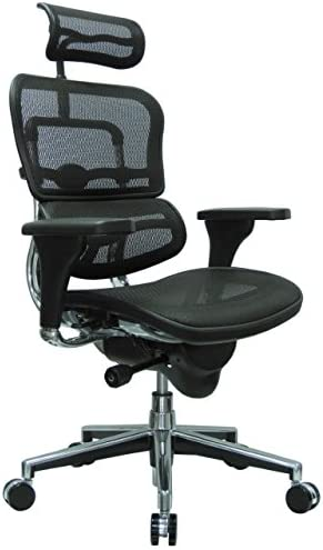 Best Ergohuman High Back Swivel Chair with Headrest, Black Mesh & Chrome Base