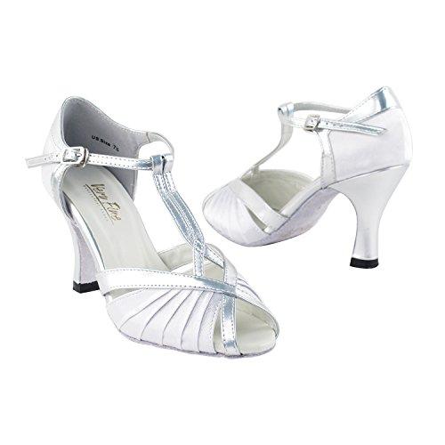 Very Fine Damen Salsa Ballroom Tango Latin Dance Shoes Style 2707 Bundle mit Kunststoff Tanzschuh Fersenschutz, Silber (Whitesilvera), 37.5 EU