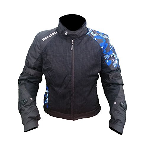 MOTOTECH Scrambler Air Women's Motorcycle Jacket (Black + Blue, Extra Small)