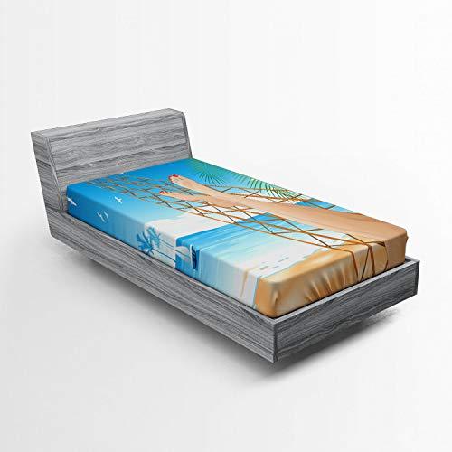ABAKUHAUS Tropisch Spannbetttuch, Hawaiian Ocean Hängematte, Soft Dekorativer Stoff Bettwäsche Rund-um Elastischer Gummizug, 90 x 200 cm, Creme und Blau