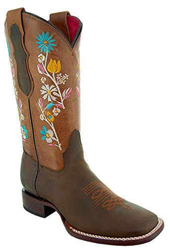Soto Boots Womenâ€s Broad Square Toe Floral Cowgirl Boots M9004 (Brown,10 B(M) US)