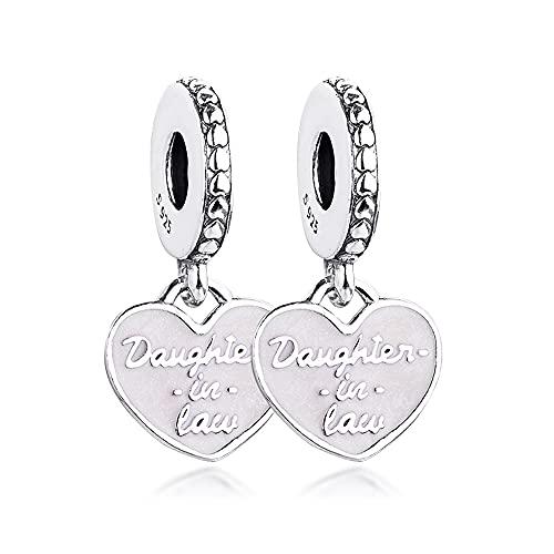 BAKCCI 2021 primavera hija y madre en la ley Split corazón colgante plata 925 DIY se adapta a pulseras originales Pandora encanto joyería de moda