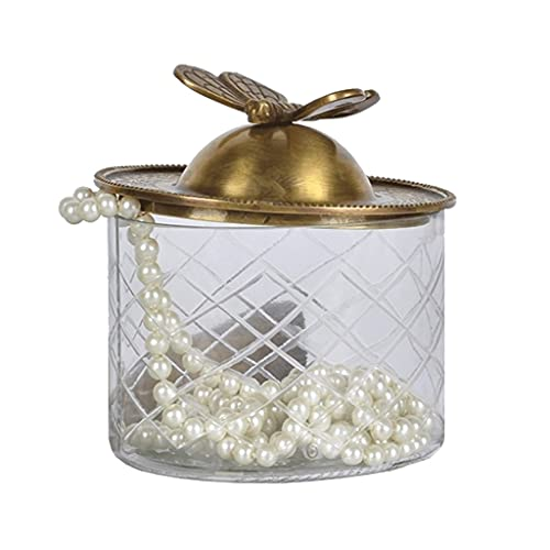 Caja De Joyería con Latón Mariposa Tapa De Cobre De Cristal De Cristal De Vidrio De Vidrio De Baños A Prueba De Agua