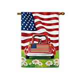 BAGEYOU Retro Red Patriotic Dog Truck House Flag Pet Pitbull with Collar 4th of July Rustic Daisy Decor Banner for Outside 28x40 Inch Print Double Sided