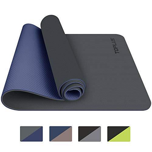 TOPLUS Yogamatte, Gymnastikmatte – aus recycelbarem TPE-Material, extrem rutschfest und langlebig, 183 x 61 x 0,6 cm, ungiftig, Bodenmatte für Sport, Fitness, grau