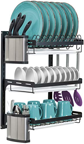 Sorbus Dish Drying Rack 3-Tier Hanging Wall Mount Drying Organizer Storage Shelf Drainer for Dishes Bowls Utensils Mugs Includes Drain Trays and 3 Hooks for Kitchen Sink Metal Black