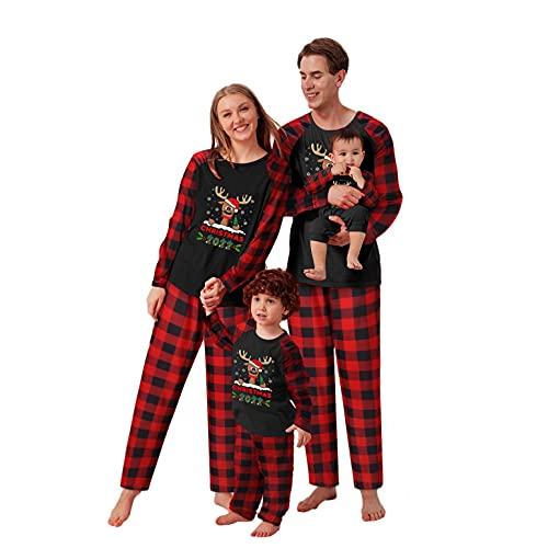LEIYAN Christmas Family Matching Pajamas Set Graphic Reindeer Snowflake Print Tops Plaid Pants Merry Xmas Sleepwear Red