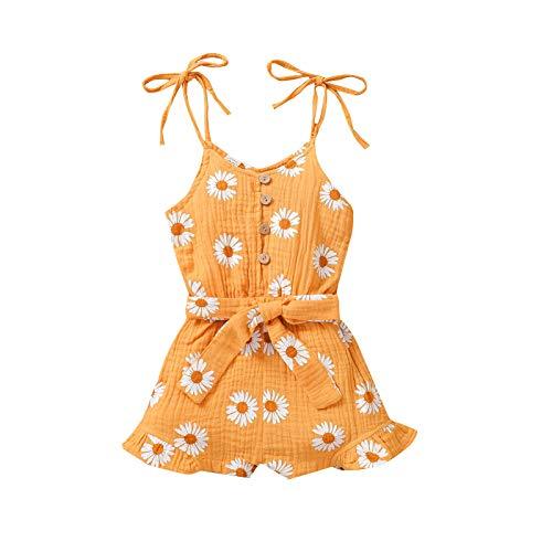 ZhaZhaMeng Mono para bebé con diseño de margaritas y flores, tirantes de espagueti, sin mangas, botones con lazo en la cintura