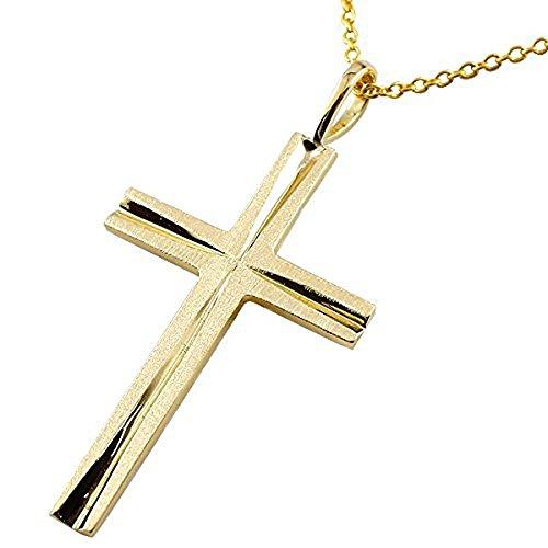 [アトラス] Atrus ネックレス メンズ 24金 純金 クロス 十字架 ペンダント チェーン(シルバー925イエローメッキ)