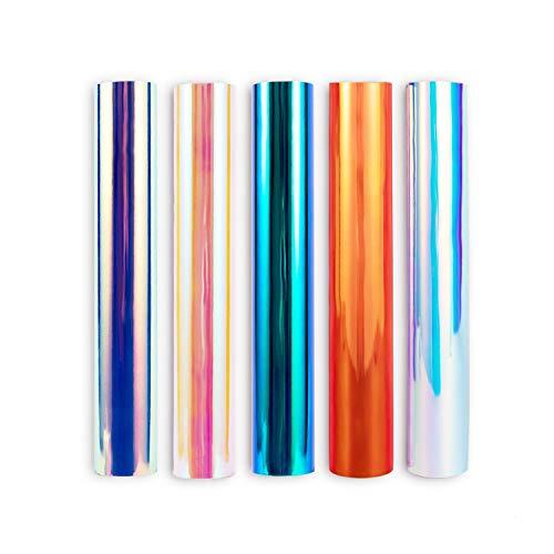 Holografische Chrom-Basteldekoration, selbstklebend, Vinyl, 30,5 x 30,5 cm, 5 Bögen, verschiedene Opal-Farben in Regenbogenfarben für Kamee und andere Bastelarbeiten als Dekoration