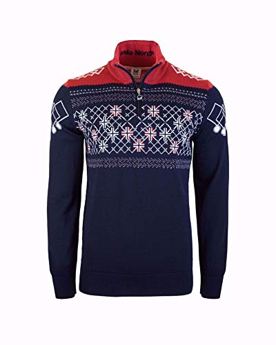 Dale of Norway Herren Podium Masculine Pullover, Navy/Raspberry/Off White, Größe S