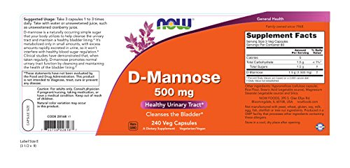 Now Foods D-mannose 500 mg,240 Veg Capsules