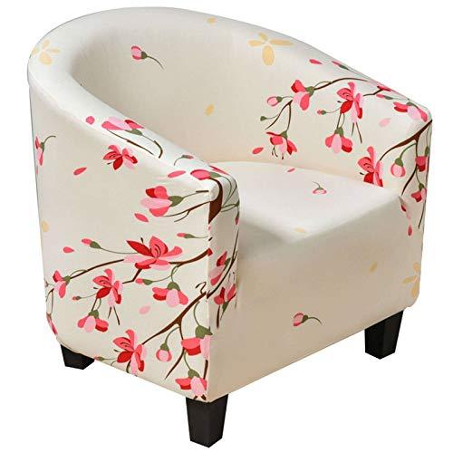 Sesselschoner, Sesselüberwurf Sesselhusse Sesselbezug Blumendruck Elastische Stretch Abwaschbar Sofahusse Husse für Clubsessel Weich Möbelschutz-AP-Clubstuhl