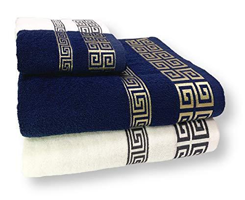 HOMEALOO 4-TLG. Handtuch-Set Premium Flauschige Baumwolle 2 Badetücher 2 Handtücher Dekorativ Medusa (Blau Gold / Weiß Grau)