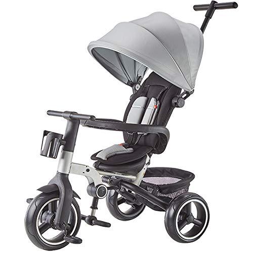 YUMEIGE Trikes Kids driewieler opvouwbaar1-5 jaar oud verjaardagscadeau driewieler met luifel gewicht 25 kg kinderen kinderwagens peuter Trike Grijs