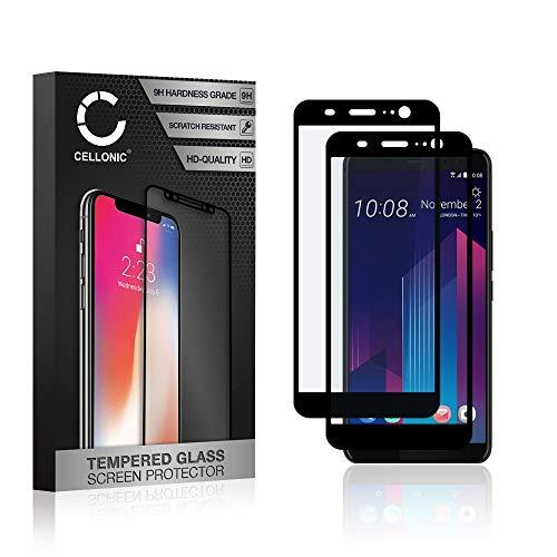 CELLONIC 2X Protection d'écran en Verre Compatible avec HTC U11 Plus (3D Full Cover 9H 0.33mm Full Glue) Protecteur d'écran Protector Film vitre Screen Protector Tempered Glass