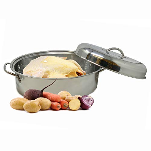 Stainless Steel Turkey Roaster Pan With Lid & Wire Rack for Roasting Vegetables Prime Rib Poultry