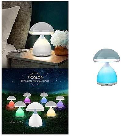 Lámpara LED RGB con forma de seta inalámbrica, colores cromoterapia, mesilla de noche, 7 colores HC-868