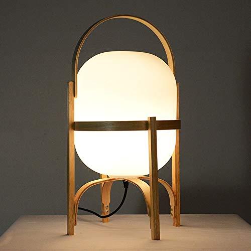 Lámpara de mesita de noche moderna Lámpara de mesa de vidrio de madera natural japonesa lámpara de noche de dormitorio E27 LED Lámpara de pie Luz para el estudio de la sala de estar Iluminación de la