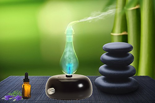 Nebulizing diffuser for essential oils and aromatherapy no heat, water, plastics or artificial materials - sage core light series - raindrop light model in gift box